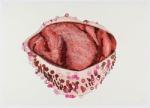 Sem título, 2012 - Interiores de chapéu - Série Cortina Vermelha | lápis de cera, caneta hidrográfica e giz de cera s/ papel | 28 x 42 cm